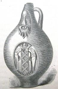 Frehenē 17. gs. izgatavota bārdainā vīra krūze (zīmējums no grāmatas: F. Jaennicke, Grundriss der Keramik..., Stuttgart 1879, S. 431)