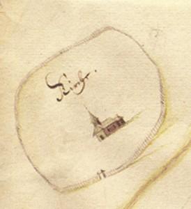 Plāns. Turaidas baznīca un senā kapsēta ar žogu. 17. gadsimta astoņdesmitie gadi (fragments).
