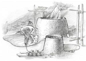 Daugmales lībiešu podnieka darbnīcas vizualizācija pēc Baibas Dumpes pētījumiem
