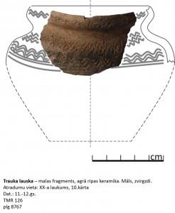 Turaidas lībiešu 11.-12. gadsimta agrās ripas keramikas trauks ar ornamentu augšdaļā. Alises Šultes rekonstrukcijas zīmējums