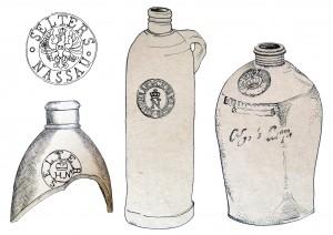 Turaidas pilsdrupās atrasto akmensmasas keramikas minerālūdens pudeļu uzraksti un markas (zīmējumi no TMR krājuma)