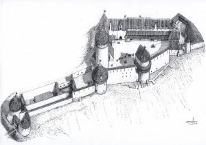 Turaidas pils 16. gadsimtā. G. Jansona rekonstrukcijas zīmējums 2004