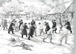 Attēls 2: Jaunbebru muižas dumpinieku sodīšana 1841. gada decembrī. Zīmējusi Una Leitāne