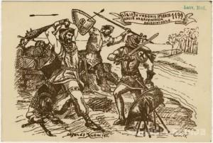 """Lībiešu vadonis Imanta kaujā ar bruņiniekiem"""" Atklātne, 1931. gads. Olģerds Krūmiņš)"""