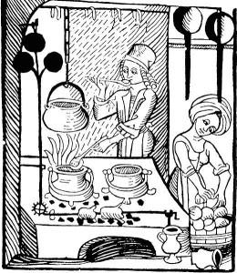 Vēlo viduslaiku virtuve ar metāla trijkājiem uz pavarda. 1485. gada vācu kokgriezums