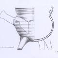 16.–17. gs. keramikas trijkāju podiņa rekonstrukcija no Turaidas pilī atrastām lauskām. Andas Bērziņas zīmējums