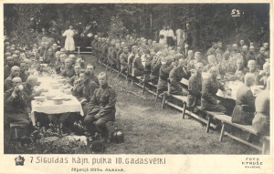 Foto atklātne. Siguldas 7. kājnieku pulka 10. gadadiena 20. jūnijā 1929. gadā, Alūksnē. Foto – K. Truše.