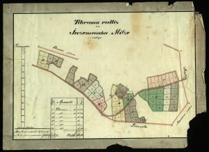 """1)Inciema pagasta """"Miču"""" māju plāns, pievienots māju pārdošanas līgumam. 1870. Turaidas muzejrezervāts"""