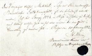Inčukalna un Vangažu muižas īpašnieka V. Kleina atļauja pie šīs muižas piederošam zemniekam Miķelim līdz 1824. gada Jurģiem (23. aprīlim) uzturēties Rīgā. 1823. gada 10. februāris
