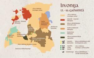 Livonija 13. -16. gadsimtā. Karte