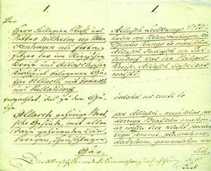 """4)Allažu muižas īpašnieka Vilhelma fon Blankenhāgena nomas līgums ar pie šīs muižas piederīgo """"Braču"""" māju saimnieku Anču Kalniņu. 1825. Latvijas universitātes Akadēmiskā bibliotēka"""