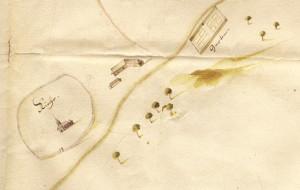 Turaidas pils un muižas plāns ar baznīcu un iežogoto kapsētu. 17. gadsimta otrā puse