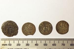 Izrakumos atrastās monētas – 16. un 17. gadsimta Zviedrijas karaļu Johana III un Kārļa XI valdīšanas laikā kaltie šiliņi. A. Tabaka foto