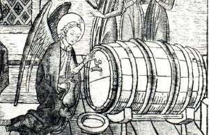 Vīna muca ar gaiļa krānu – fragments no 15. gs. nīderlandiešu kokgriezuma.