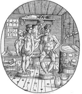 Trijlapja krāns ūdens rezervuāram pirtī. Josta Ammana 1567. gada kokgriezums.