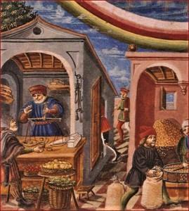 1.Garšvielu un dārzeņu tirgus. Attēls no 15. gadsimta manuskripta, Itālija.