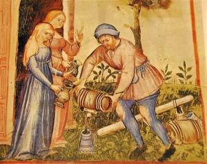 Sievietes un alus izlējējs. Attēls no 1386. gada manuskripta, Vācija.