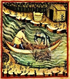 Zivju ķeršana tīklā. Attēls no 14. gadsimta manuskripta, Vācija.