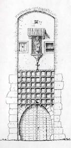 Limbažu arhibīskapa pils viduslaiku vārti (pēc analoģijas var uzskatīt, ka Turaidas pils vārti bijuši līdzīgi). I. Dirveika rekonstrukcija