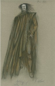 Skice Jakubovska tērpam. Kostīmu māksliniece Kristīne Pasternaka, 1996. gads.
