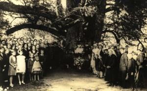 """1932. gada 7. septembrī Turaidas Baznīckalnā, piedaloties skolēniem, apkārtējiem iedzīvotājiem un korim """"Turaidas dziedonis"""" atklāta un iesvētīta tēlnieka Teodora Zaļkalna veidota balta marmora piemiņas plāksne Turaidas Rozei ar uzrakstu """"Se dus Turaidas Roze"""". Par piemiņas vietu tika izvēlēta kāda no kuplākajām trīsžuburu dižliepām, jo koks, pie kura tika piestiprināta pirmā plāksnīte bija gājis bojā. Pasākuma iniciatore atkal bija Ernestīne Poruka un Lēdurgas - Turaidas draudzes mācītājs Pēteris Zemītis. Ernestīne Poruka bija Jāņa Poruka atraitne un viņai piederēja pansija Siguldā """"Baltajā pilī"""". Kādā no pēcpusdienas tējas sarīkojumiem bija izskanējis ierosinājums uzlikt piemiņas plāksni Turaidas jaunavai Maijai. No klātesošajiem tika savākti ziedojumi un nodoti tēlniekam Teodoram Zaļkalnam darba īstenošanai."""