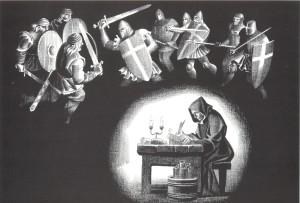 Hronists Indriķis. A. Stankeviča gravīra, 1995