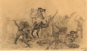 Senlatviešu kauja ar bruņiniekiem. Ā. Alkšņa zīmējums. Ap 1890. gadu