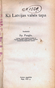"""2)Grāmatas """"Kā Latvijas valsts tapa"""" (Rīga, 1923) titullapa"""