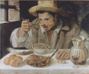 Vīrietis ar karoti rokā – pupiņu ēdājs. Anibale Karači, 1580-1590