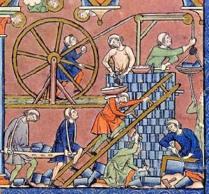 Bābeles torņa būvniecība. Miniatūra no Morgana jeb Macieowsky Bībeles, ~1240. gads, Parīze, Francija