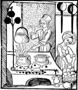 Pavards ar trijkāju grāpjiem un kāsī pakārtu katlu. Kokgriezums, ap 1500. gadu  (no: Kuchenmaisterey, Augsburg 1505)