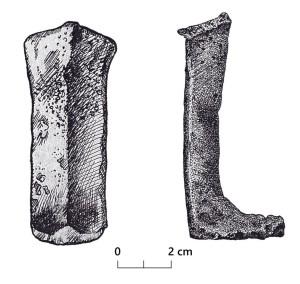 Turaidas pils izrakumos atrastas bronzas grāpju kājas. Zīmējums no TMR krājuma