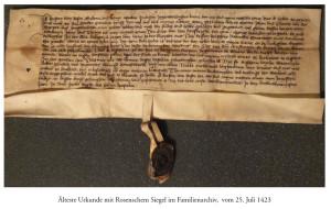 Vecākais dokuments ar Rozenu zīmogu no Rozenu arhīva