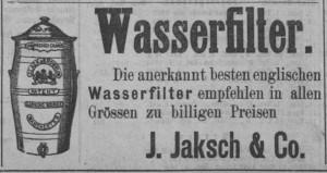 1885. gada sludinājums par Jakša veikala Rīgā nopērkamiem angļu firmas Slack&Brownlow ūdensfiltriem (Zeitung für Stadt und Land, 29.05.1885)