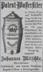 1892. gada sludinājums par Mičkes veikalā Rīgā pārdotiem firmas Slack&Brownlow patentētiem ūdensfiltriem (Zeitung für Stadt und Land, 29.03.1892)