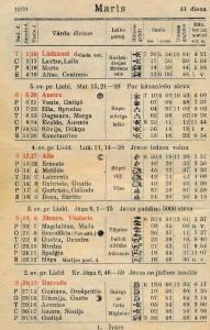 1939. gada Pušelnieka Zobgala kalendāra 1939. gadam. Mirdzas svinējušas vārdadienu tāpat kā tagad – 23.martā