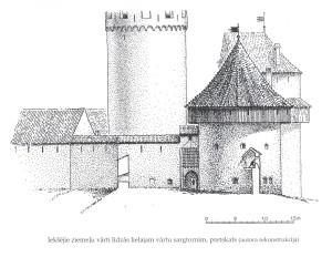 Ziemeļu iekšvārtu torņa rekonstrukcijas zīmējums. Arhitekts Gunārs Jansons, 2007