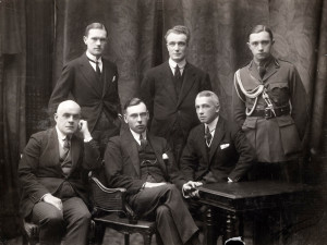Latvian delegation in Paris after receiving the de iure recognition decision of the Supreme Council of the Allies on January 26, 1921. In the first row from the left: Miķelis Valters, Zigfrīds Anna Meierovics, Jānis Lazdiņš. In the second row from the left: Oļģerds Grosvalds, Georgs Bisenieks, Jānis Tepfers