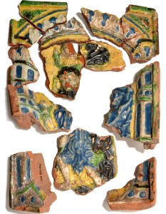 Fragments of the stove tile found in the archaeological excavations at  Turaida Castle with an image of St. Christopher. Made btween the 1530s and 1550s