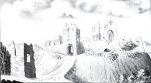 Skats uz Siguldas pilsdrupām 1771. gadā no D. Siguldas ordeņpils sākta celt 1207. gadā. Broces zīmējumā redzamas vārtu torņa un konventa ēkas drupas, kas saglabājušās līdzīgā apjomā, vārtu tornis restaurēts. Attēla kreisajā pusē skatāmas ārējās priekšpils teritorijā bijušā priekštilta aizsargtorņa paliekas vēl salīdzinoši labā stāvoklī. Mūsdienās no tā saglabājušies tikai pamati, kuriem priekšā atrodas vēlāk (1878 - 81) uzceltā Jaunā pils.