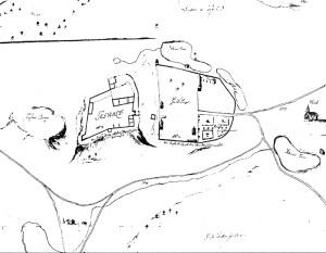 Siguldas pilsdrupu plāns ap 1680. gadu, fragments. Krusta kalns – attēla kreisajā pusē pirms zemes noslīdeņa – tā izmēri daudz lielāki un forma – apaļāka. Oriģināls – Karaliskajā kara arhīvā, Stokholmā.