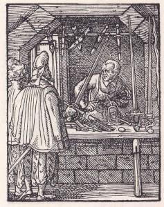 Nažu kalējs. Nirnbergas grafiķa Josta Ammana kokgriezums, 1568. gads