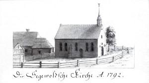 """Siguldas baznīca 1792. gadā skats no Z-ZR, agrāk te atradusies kāda vienkārša koka būve, jo pēc Indriķa hronikas ziņām, jau 1206. gadā te notika vietējo lībiešu kristīšana un priesteris Alebrands te """"nodalīja draudzes"""". Līdz mūsdienām baznīca pārbūvēta – mazā tornīša vietā 1930. gadā pēc arhitekta K. Pēkšēna projekta uzcelts tagadējais tornis. Sēta ap baznīcu, visticamāk, norobežo bijušās, līdz 1772. gadam pastāvējušās kapsētas robežas. Baznīcas kreisajā pusē attēlotā ēka ir vai nu bijusī draudzes skola vai bijušais Baznīckrogs (saukts arī par Jelgavkrogu). Baznīcas labajā pusē esošais koks ir ozols, kas 20. gadsimta sākumā dēvēts par """"tūkstošgadīgo"""" ozolu. Šāds vecums gan ir nedaudz vairāk kā divas reizes pārspīlēts. Koks un vēlāk pārbūvētais krogs tika nopostīts 1. pasaules kara laikā."""