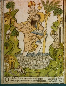 """St. Christopher. Wood carving, 1423. The caption in Latin says: """"The day you see Christopher's face, you will not die in sudden death""""."""
