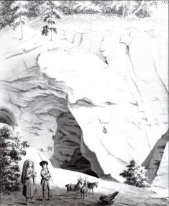 Gūtmaņa alas pretskats no A, 1794. gadā. Alu Broce attēlojis arī sānskatā un no iekšpuses. Arī pēc Broces alu zīmējuši daudzi mākslinieki. Tā veidojusies pirms 10 – 12 tūkstošiem gadu un pēc tilpuma (~500 m2) ir lielākā Baltijā.