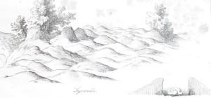 Kapu uzkalniņi Siguldas Saksukalnā (Bahr, 1850).