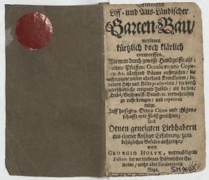 """Georga Holīka grāmatas """"Vereinigter Liff- und Aus-Ländischer Garten-Bau"""". Riga, 1684 titullapa"""
