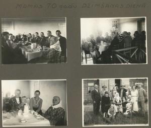 Albūma lapa. Fotogrāfija apakšā labajā pusē: Vītolu dzimta mātes Anna Vītolas 70 gadu jubilejā 1934. gadā. Otrajā rindā no kreisās: Pēteris Pētersons, Rūdolfs Vītols ar sievu Jūliju, Jānis Vītols ar sievu Annu, Anna Caune (dz. Vītola) ar vīru Voldemāru Cauni. Pirmajā rindā no kreisās: Emma Vītola, Rudzīšu vecā saimniece māte Anna Vītola, klēpī tur dēla meitiņu Edīti, Matilda Pētersone (dz. Vītola), klēpī tur dēlu Uldi. Priekšā zemē sēž Jāņa bērni – dēls Jānītis un meita Biruta.