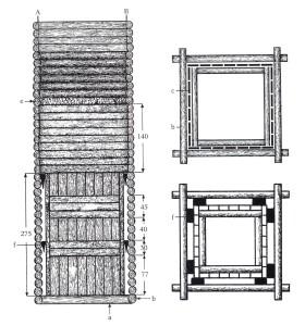 Turaidas pils lielās akas plāns. Zīmējusi māksliniece Ilze Siliņa. Šķērsgriezums un ūdens kameras virsskats: a - grīda b - grodi c – ūdens kameras sienu segdēļi e – ar bērza tāsīm notītais grodu vainags f – ūdens kamaeru atdalošie dēļi Šķērsgriezumā attēlota akas apakšējā daļa – ap 6 m kopgarumā, no 3 – 9 m dziļumā no pagalma līmeņa