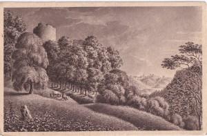 Skats no Turaidas baznīcas kalna uz liepu aleju, kas ved uz pilsdrupām. Zīmējis K.J.E. Ungerns-Šternbergs 1829. gadā; vēlāka reprodukcija uz pastkartes.